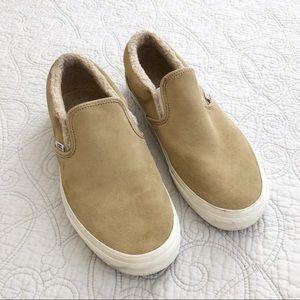 Vans Tan Suede Sherpa Slip On Shoes